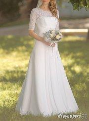 Белоснежное Свадебное платье А-силуэта